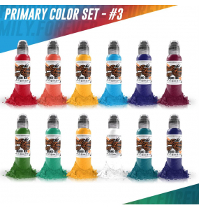 """World Famous Tattoo Ink """"12 Color Primary Set"""" #3"""